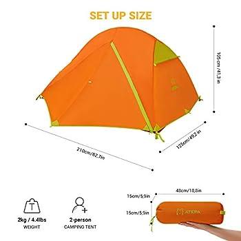 ATEPA Tente de Camping pour 2 Personnes en 100% Polyester 210T Ripstop, PU Imperméable de 3000mm Multifonctionnelle Légère Durable et Robuste pour Pique-Nique Randonnée Trekking et Voyage