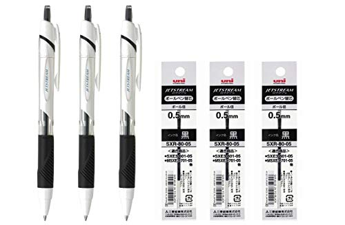 uni-ball Jetstream Extra Fine Point Retractable Roller Ball Pens,-Rubber Grip Type -0.5mm-Black Ink- 3 Pens & 3 Pens Refills Value Set