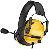 AYU USB Gaming Headset with 7.1 Surround Sound, Wired Headset with LED Light, Noise Canceling mic, Soft Earmuffs Over-Ear Gaming Headphone with mic Compatible for PC/PS4 Console/Mac/Laptop (Yellow)