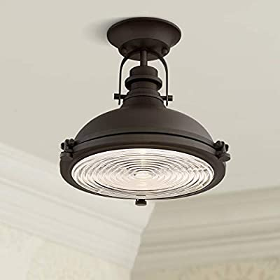 """Verndale Industrial Ceiling Light Semi Flush Mount Fixture Bronze Dome 11 3/4"""" Wide Clear Ribbed Glass for Bedroom Kitchen Living Room Hallway Bathroom - Possini Euro Design"""
