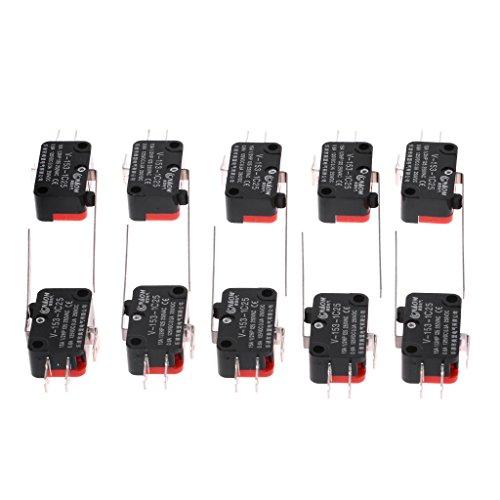 GUMEI 10pcs V-153-1C25 Interruptores de límite de Palanca de bisagra Recta Larga Tipo SPDT Micro Interruptor