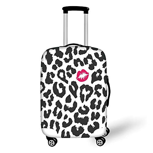 Travel Luggage Cover Suitcase Protector,Safari,Leopard Cheetah Animal Print with Kiss Shape Lipstick Mark Dotted Trend Artwork Decorative,Black White Red,for Travel M