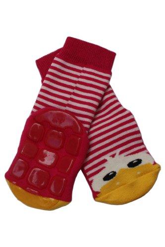 Weri Spezials Baby Voll-ABS Socke Enten Motiv in Rot-Rosa Gr.18-19 (9-12 Monate)