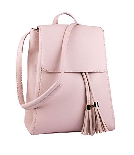 SIX Damen Rucksack, Tassel, Fashion-Trend, Quasten, goldene Details, Druckverschluss, Pastelltöne, rosa (726-561)