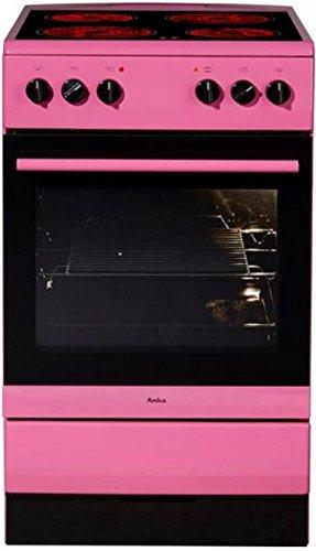 Amica SHC 11508 Pi Standherd / 50cm / Freistehend / Pink / Glaskeramikochfeld mit 4 Feldern / 67 Liter Backofen / Steam Clean Backofen / Cool Door 3 / Restwärmeanzeige