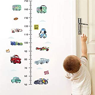 HLKHLC Wall Sticker Cartoon Car Growth Chart Height Measure Wall Stickers Kids Room Decoration DIY Car Home Decals