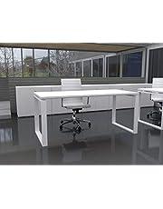 Mesa de Oficina con Estructura Cerrada, de 160x80cm. FABRICACIÓN Nacional. Entrega de 3 a 7 dias. (Tablero Blanco, Estructura Blanco)