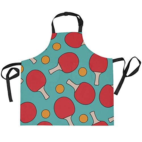 HaJie Babero ajustable delantal deportivo de tenis de mesa, uniforme de chef con 2 bolsillos para hombres y mujeres, cocina, unisex, ropa de trabajo