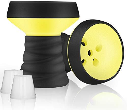 DFESKAH Shisha Kopf, 2 X Steinkopf mit Dichtung, Universal Zubehör passt für Jede Wasserpfeife (Gelb)