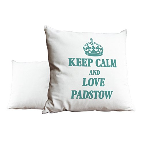 Duke Gifts Turquoise Keep Calm and Love Padstow White Scatter Pillow 480