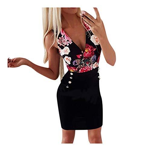 L9WEI Damen Slim Kleider Armellos Sommerkleid Sexy V-Ausschnitt Kleid mit Tasche Elegant Kurz Rock Minikleider Frauen Cocktailkleider Businesskleider