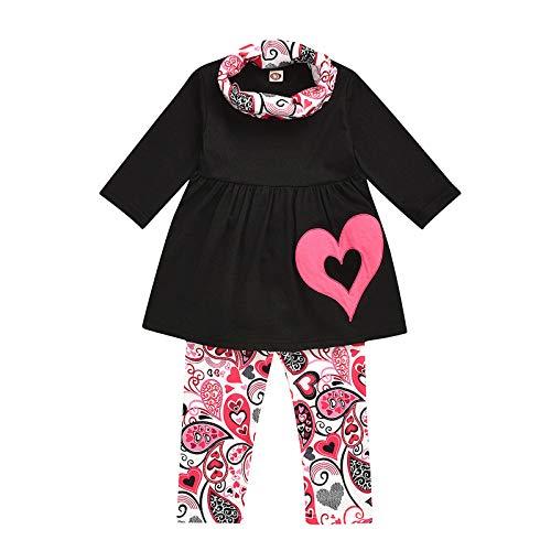 Kleinkind Baby Mädchen Solide Herz Drucken Tops + Cashew Drucken Hose + Schal Sets-C