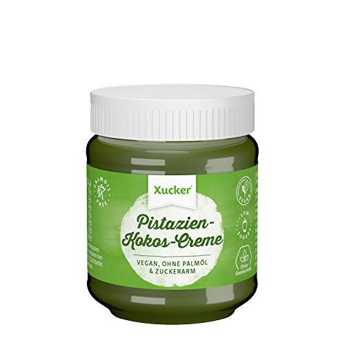 Pistazien-Kokos-Creme mit Xylit ohne Palmöl | Süßes Frühstück mit Xucker | Ohne Gentechnik | Vegan | zuckerarm | 200 g im Glas