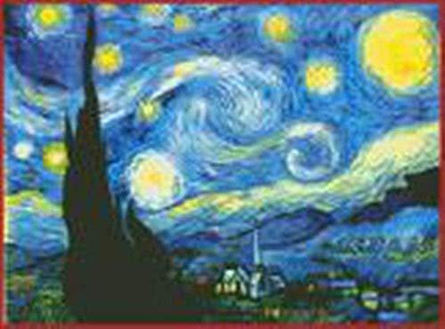 Gama completa de kits de punto de cruz estampado 100% algod¨®n Kits de inicio de bordado de bricolaje Costura de bricolaje para principiantes Ni?os adultos - Noche estrellada de Van Gogh (11CT blanco)