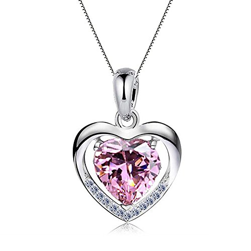 """Damen Halskette 925 Sterling Silber mit Herz Anhänger mit SWAROVSKI Herzkette, Ein Symbol der """"Mein Herz ist bei dir"""", Geschenk für..."""