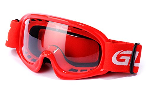 GLX Unisex-Child YH15 Anti-Fog Impact-Resistant Kids Youth ATV Off-Road Dirt Bike Motocross Goggles for Boys & Girls (Red, one_Size)