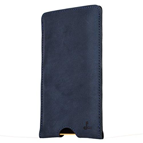 Snakehive® Microsoft Lumia 640 XL Funda cartuchera de la Colección Vintage en Cuero Nubuck con Ranuras para Tarjetas de crédito/Billetes (Azul Marino)
