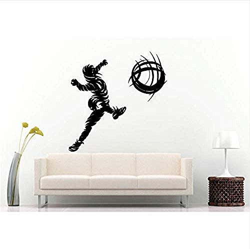 DIY PVC Afneembare zelfklevende Vinyl Muursticker Mannelijke Voetbalspeler Kicking Voetbal Wandlamp Vinyl schansen Squash Kicking Voetbal Squash Match 57 * 60cm