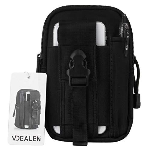 Vdealen Taktische Hüfttaschen, Schwarz Militär Kompakt Gürteltasche Multifunktional Bauchtasche Telefontasche mit Extra Aluminiumkarabiner, Ideal Molle-Tasche für Outdoor-Aktivitäten