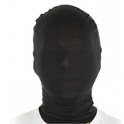 Lycra Spandex Zentai Costume Skin Masks Christmas Party Chroma-Mask Full Hood Full Cover for Adult (Black)