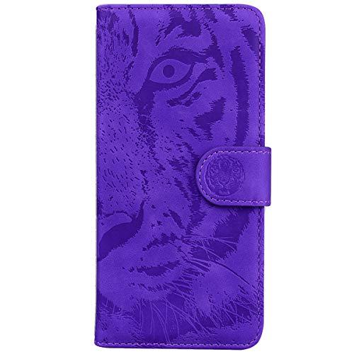 Blllue Funda De La Cartera Compatible Con LG K42, Tigre En Relieve Patrón De Cuero De La PU Cubierta Del Teléfono Para LG K42 - Púrpura