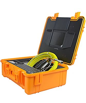 Self Leveling Video Inspection Drain Camera Survey Sewer Pipe Camera with 130ft Cable, 512hz Sonde, Video Audio Record, Photograph, Distance Counter, Keyboard, LED Adjust, Rechargeable 6600mah Battery