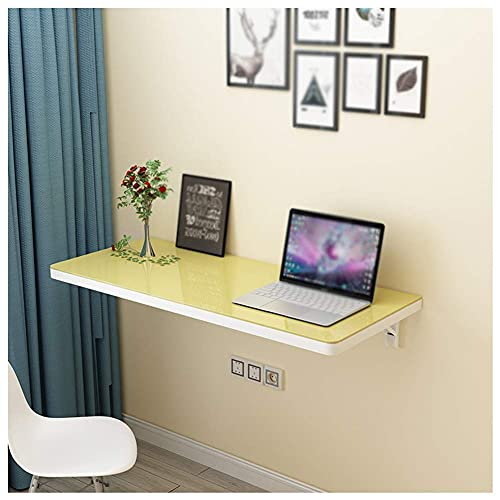 YVX Simple Wall Mounted Table Desk, Folding Computer Table, Creative Kitchen Workbench, Tempered Glass Table Top, Wear-Resistant/Scratch Resistant and Easy to Clean,Load- Bearing 80KG