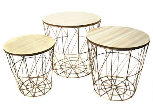 Bada Bing 3er Set Metall Korb Gold Optik Beistelltisch Metallkorb Couchtisch Kaffeetisch Wohnzimmertisch Modern Rund Holz Design Tisch 3 Größen 49