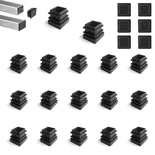 YouU 20 piezas Tapón de plástico cuadrado negro para muebles, silla, patas, pies, tapa, insertos de tubo, tapa final (15x15mm / 0.59
