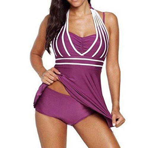 Generic Brands Bikini De Maillot De Bain De Couleur Unie De Grande Taille S-5Xl Plus De Graisse pour Augmenter Le Maillot De Bain Divisé-3_3XL