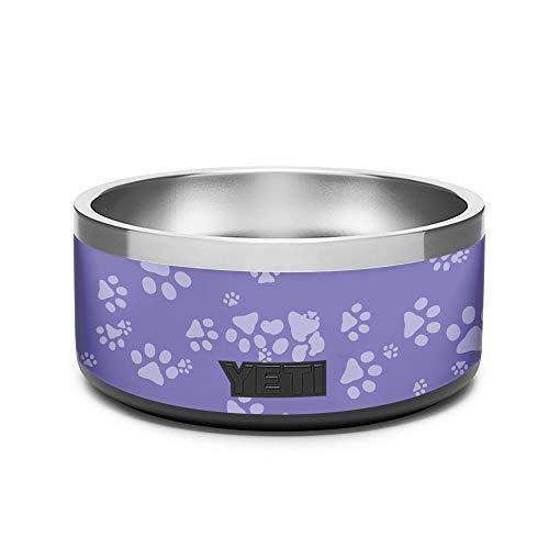 KRAFT'D Wrap Compatible with Yeti (R) Boomer 4 Dog Bowl - Decal Vinyl Only - Stylize Your Corgi, Doberman, German Shepard, Retriever, Poodle, Bulldog, Boxer, Frenchie, Husky Bowl - Purple Paws