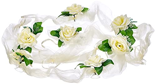 Organza M Auto sposi Rose Decorazione Auto Gioielli Matrimonio Car Auto Wedding Decorazione Ghirlanda PKW (Ecru/Ecru)