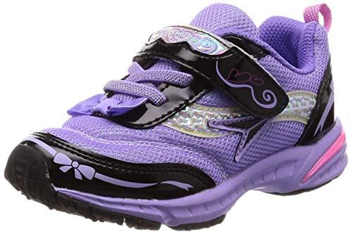 [シュンソク] 運動靴 通学履き 瞬足 軽量 スリム 15~19cm 1E キッズ 女の子 LEC 5730 ブラック/ラベンダー 16.5 cm E