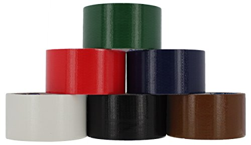 RAM-PRO Heavy-Duty Duct Tape | Assorted Colors Pack of 6 Rolls, 1.88-inch x 10 Yard – Colors Included: Blue, Green, Red, Brown, Black & White.