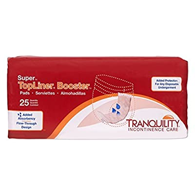 """Tranquility TopLiner Disposable Booster Pads - Super (15"""" x 4.25"""") - 25 ct, Peach by TRANQUILITY"""
