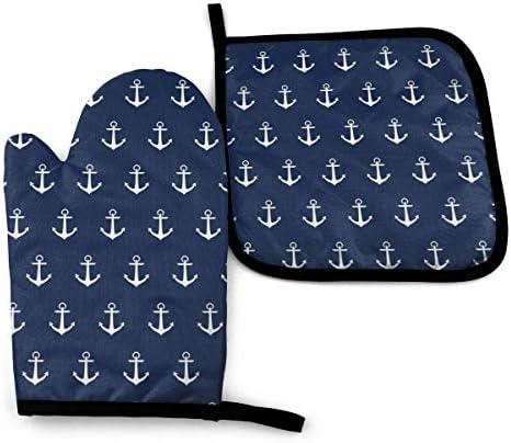 BJHAP Oven Mitt and Pot Holder Set Nautical Blue Anchors Heat Resistant Kitchen Gloves Potholder product image