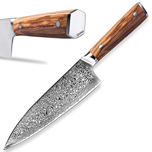 Shoko® Das Kochmesser mit ergonomischem Griff Damastmesser mit Olivenholz Profi Chefmesser Gyuto Kochmesser