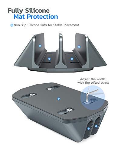 Nulaxy Soporte Vertical Dual para Ordenador Portátil, Doble Aluminio Soporte de Escritorio con Base Ajustable… 5