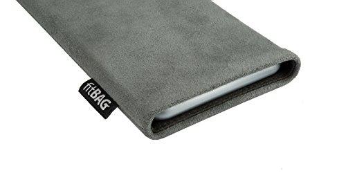 fitBAG Classic Grau Handytasche Tasche aus original Alcantara mit Microfaserinnenfutter für Huawei Ascend D Quad/D Q   Hülle mit Reinigungsfunktion   Made in Germany - 3