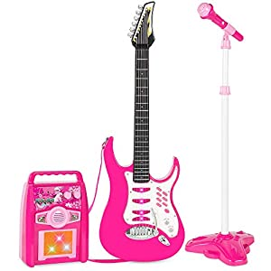 Best Choice Products Kids Electric Musical Guitar Toy Play Set w/ 6 Demo Songs, Whammy Bar, Microphone, Amp, AUX - Pink
