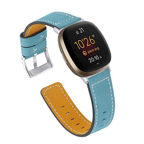 XIALEY Correa De Cuero Compatible con Fitbit Versa 3 / Sense, Correas De Repuesto De Cuero Genuino para Mujeres Y Hombres, Correa De Reloj Compatible con Versa 3 / Sense,Azul
