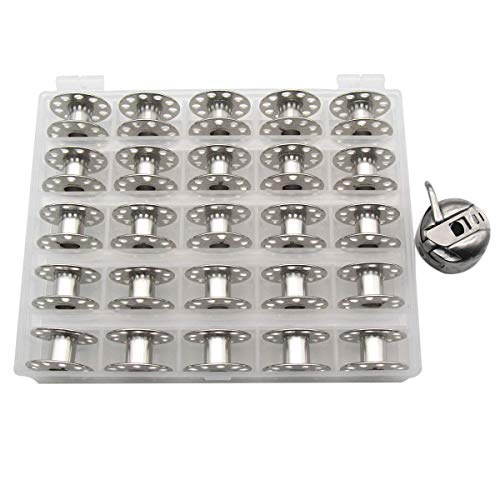 CKPSMS Marque – # BC-HA1 1 pièce + boîte 2518 25 pièces compatibles avec machine à coudre Singer, Viking, Elna, Bernina, Bernette, 1 étui à canette et 25 bobines avec boîte