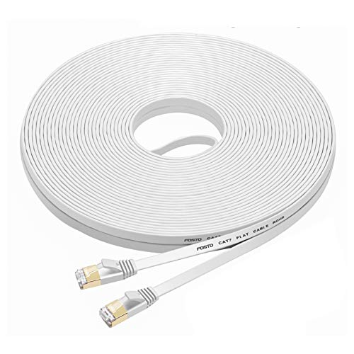 FOSTO Cat7 Ethernet Cable 60 ft,cat 7 Patch Cable Flat RJ45 High Speed 10 Gigabit LAN Internet Network Cable for Xbox,PS4,Modem,Router,Switch,PC,TV Box (60Feet, White)