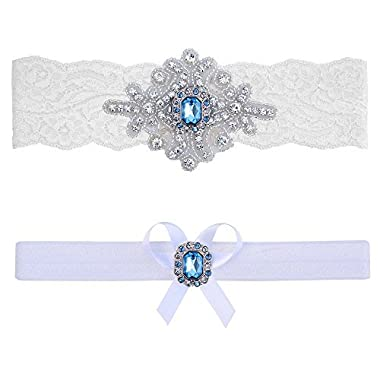 Contessa Garters Blue Topaz Garter (Small (16  - 17 ), White Lace)