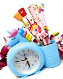 SKS Cute & Latest Unicorn Alarm Clock with Pen Stand for Kids Room - (Blue)