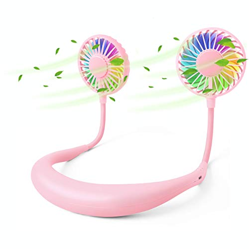 Tikduck Neck Portable Sports Fans Hand Free Mini USB Rechargeable Desk Fan Headphone Design Wearable Small Personal Table Travel Office Room Household Cooling Folding Electric Airflow (Pink)