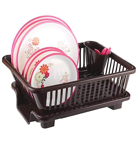 Ngel BS Plastic Kitchen Sink Dish Drainer - Drying Rack Washing Basket - Dish Drainer Rack with Tray Multifunctional Basket (Multi-Color)
