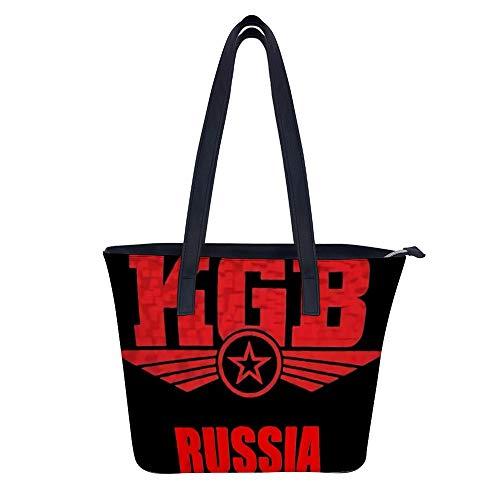 KGB Russia - Bolso bandolera para mujer de piel sintética grande