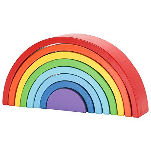 Wooden Colorful Rainbow Building Blocks Montessori Toy Arch Bridge Kids Assemble Bricks Stacker Puzzle