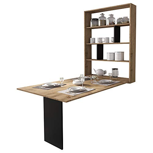 Selsey ESPIGO - Esstisch/Wandtisch klappbar mit Regal - Tischplatte rechteckig 130 x 80 cm (Wotan Eiche)